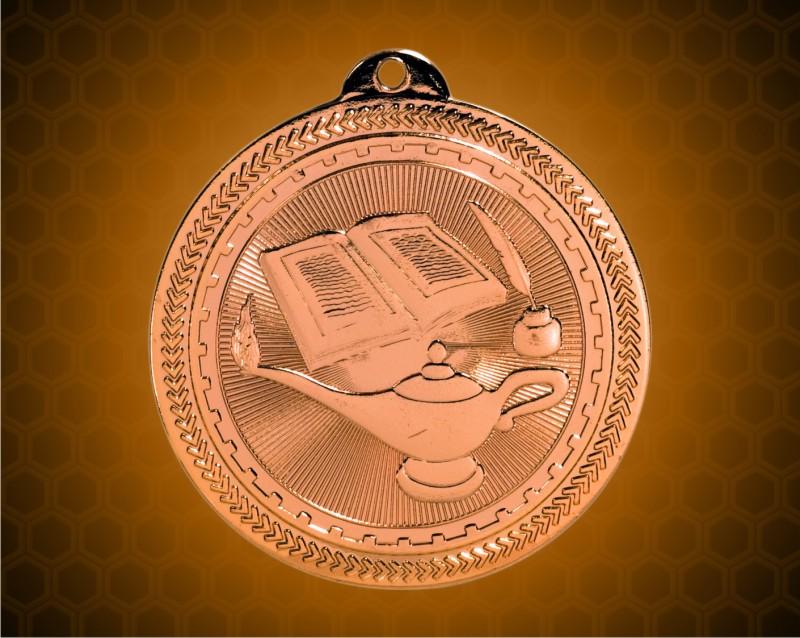 2 inch Bronze Lamp of Knowledge Laserable BriteLazer Medal