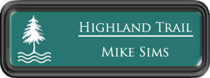 Framed Name Tag: Black Plastic (rounded corners) - Celadon Green and White Plastic Insert