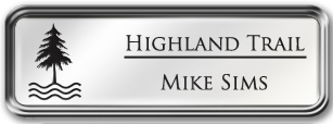 Framed Name Tag: Silver Metal (rounded corners) - White and Black Plastic Insert with Epoxy