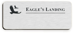 Blank Smooth Plastic Name Tag with Logo: Brushed Aluminum and Black - LM922-354