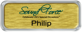 Metal Name Tag: Brushed Gold with Shiny Silver Metal Border