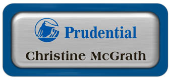 Metal Name Tag: Brushed Silver Metal Name Tag with a Blue Plastic Border and Epoxy