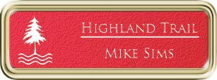 Framed Name Tag: Gold Plastic (rounded corners) - Pimento and White Textured Plastic Insert