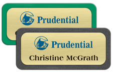 Brushed Gold Metal Name Tags with Plastic Borders