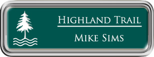 Framed Name Tag: Silver Plastic (rounded corners) - Evergreen and White Plastic Insert
