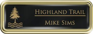 Framed Name Tag: Gold Plastic (rounded corners) - Black and Gold Plastic Insert with Epoxy