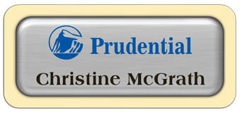 Metal Name Tag: Brushed Silver Metal Name Tag with an Antique Ivory Plastic Border and Epoxy