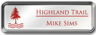 Framed Name Tag: Silver Metal (rounded corners) - White and Crimson Plastic Insert with Epoxy