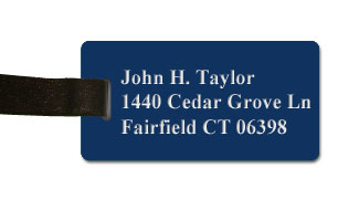Smooth Plastic Luggage Tag: Patriot Blue with White - LM922-552