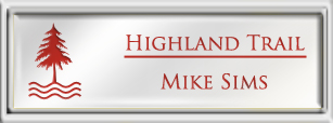 Framed Name Tag: Silver Plastic (squared corners) - White and Crimson Plastic Insert with Epoxy