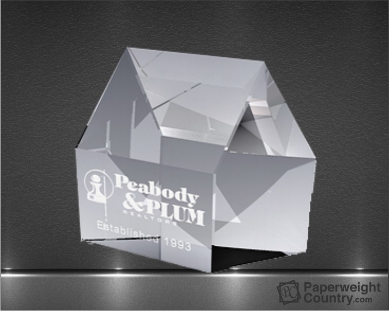 3 1/2 x 4 x 1 3/16 Inch Real Estate Optic Crystal Paperweight