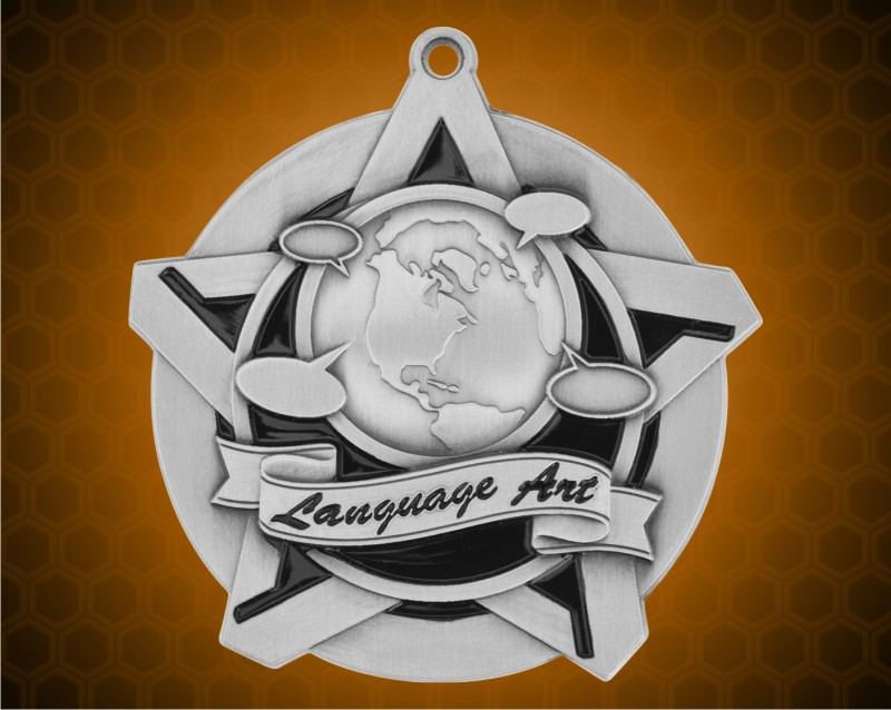 2 1/4 inch Silver Language Arts Super Star Medal
