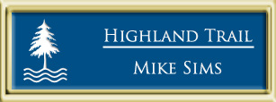 Framed Name Tag: Gold Plastic (squared corners) - Sky Blue and White Plastic Insert