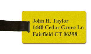 Textured Plastic Luggage Tag: Acid Yellow with Black - 822-774