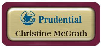 Metal Name Tag: Brushed Gold Metal Name Tag with a Burgundy Plastic Border and Epoxy