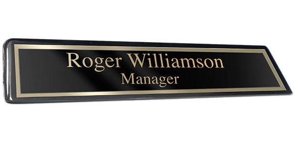 Black Piano Finish Desk Plate with Black Plate and Shiny Gold Border