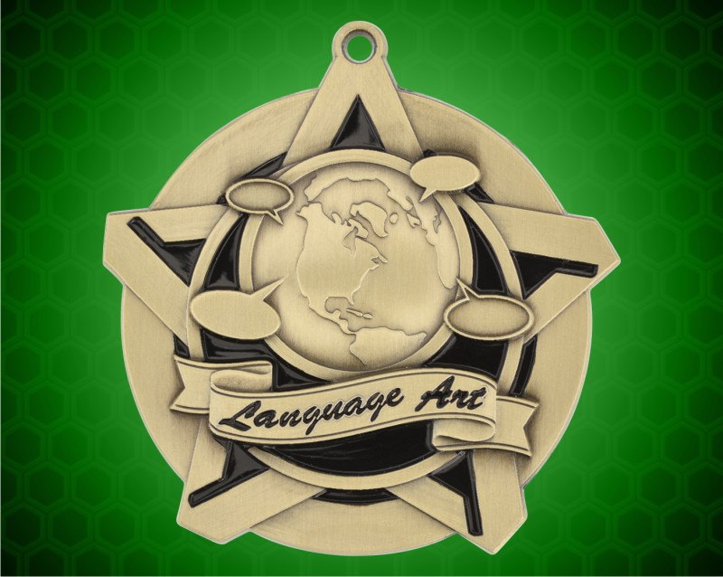 2 1/4 inch Gold Language Arts Super Star Medal
