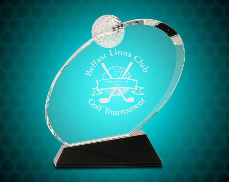 7 1/4 Inch Clear Crystal Oblong Golf Award On Black Crystal Base