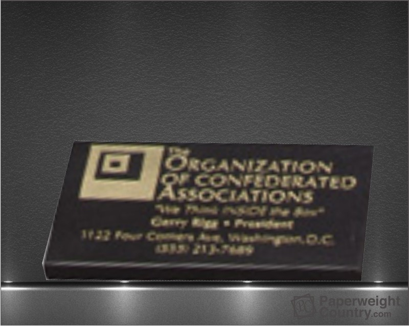1/4 x 2 x 3 1/2 Inch Black Business Card Paperweight