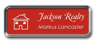 Silver Metal Framed Nametag with Crimson and White