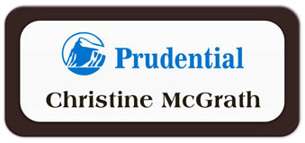 Metal Name Tag: White Metal Name Tag with a Dark Brown Plastic Border