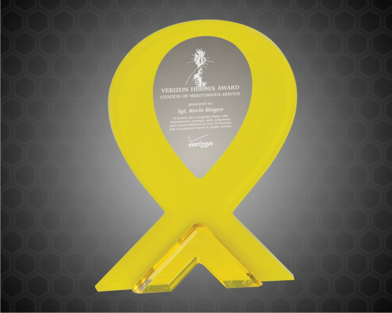 7 Inch Yellow Ribbon Stand Up Acrylic