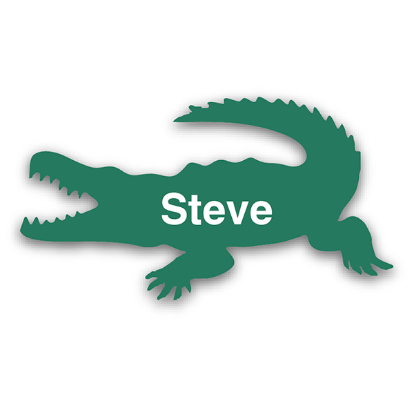 Smooth Plastic Crocodile Shape Name Tag - 1.5 x 2.67 inches