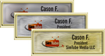 Square Cornered Plastic Gold Framed Name Tags with Epoxy
