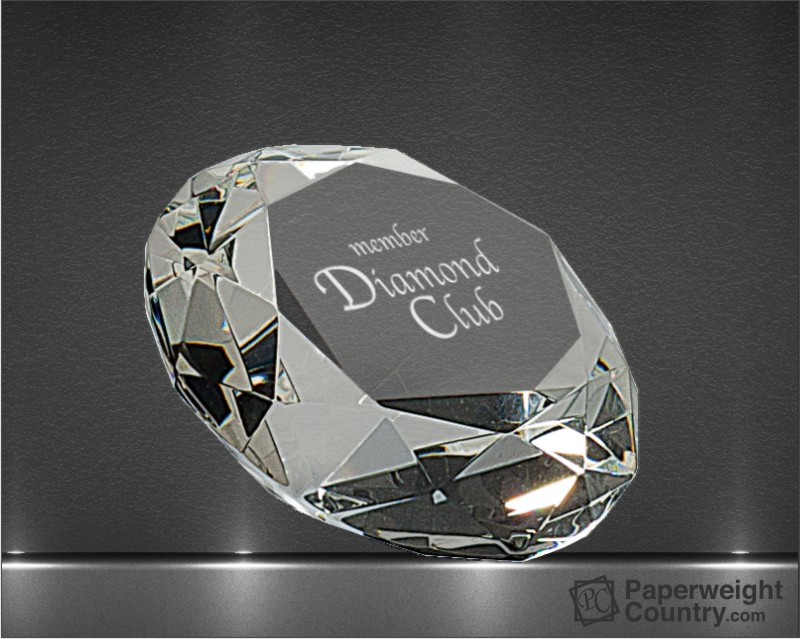 3 1/8 x 2 1/4 Inch Diamond Optic Crystal Paperweight