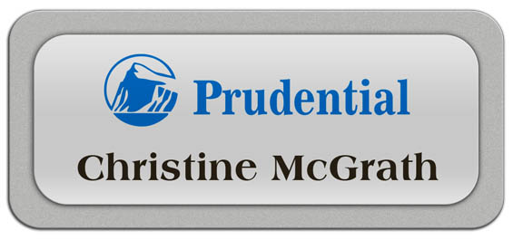 Metal Name Tag: Shiny Silver Metal Name Tag with a Silver Plastic Border