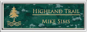 Framed Name Tag: Silver Plastic (squared corners) - Verde and Gold Plastic Insert