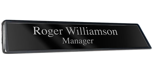 Black Piano Finish Desk Plate with Black Plate with Silver Engraving