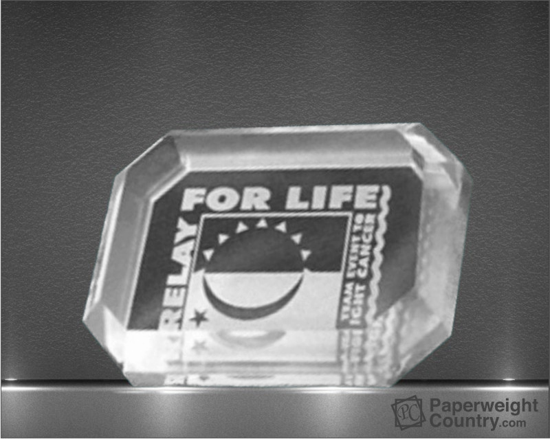 1 x 4 x 3 Inch Clear Reverse Engraved Acrylic Paperweight