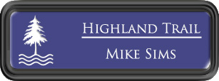 Framed Name Tag: Black Plastic (rounded corners) - Purple and White Plastic Insert