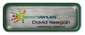 Metal Name Tag: Brushed Silver with Epoxy and Green Metal Border