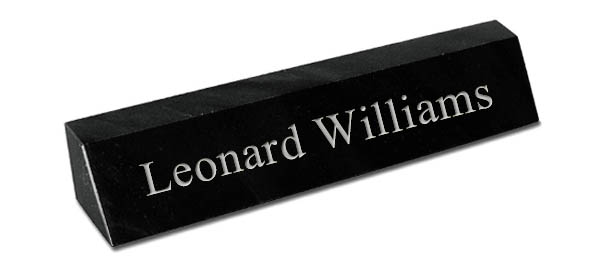 Black Marble Desk Plate - Silver Engraving