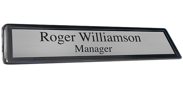 Black Piano Finish Desk Plate with Brushed Silver Plate and Black Border