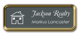 Gold Metal Framed Nametag with Smoke Grey and White