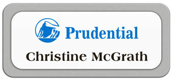Metal Name Tag: White Metal Name Tag with a Silver Plastic Border