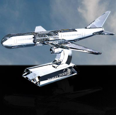 5 1/2 x 11 7/8 x 10 1/4 Inch Optic Crystal Airplane Paperweight
