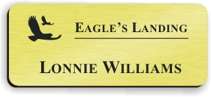 Smooth Plastic Name Tag: European Gold with Black -  LM 922-754