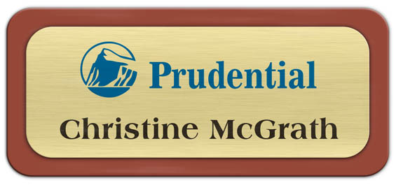 Metal Name Tag: Brushed Gold Metal Name Tag with a Canyon Plastic Border