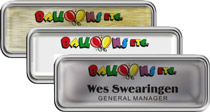 Silver Rounded Frame Nametags with Epoxy