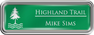 Framed Name Tag: Silver Plastic (rounded corners) - Kelley Green and White Plastic Insert with Epoxy