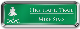 Framed Name Tag: Silver Metal (rounded corners) - Kelley Green and White Plastic Insert with Epoxy