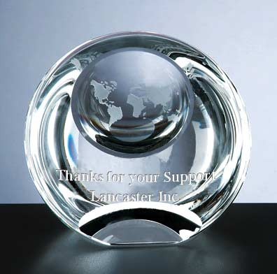 3 1/8 x 3 3/4 x 2 1/4 Inch Globe Dome Paperweight