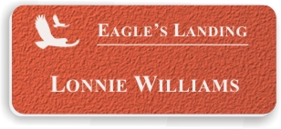 Textured Plastic Nametag: Tangerine with White - 822-652