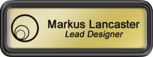 Framed Name Tag: Black Plastic (rounded corners) - Shiny Gold and Black Plastic Insert with Epoxy