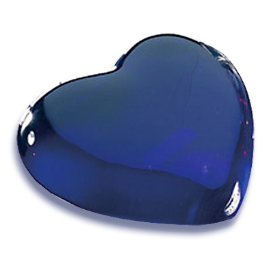 3 x 3 x 1 Inch Blue Heart Molten Glass Paperweight