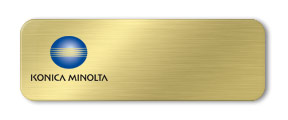 Blank Metal Name Tag with Logo: Brushed Gold